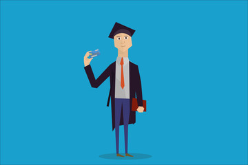 cartoon student with credit bank