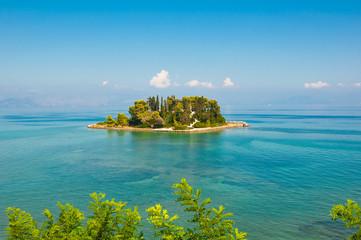 Pontikonisi or Mouse island in Ionian sea. Corfu,Greece.