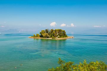 Pontikonisi or Mouse island near Corfu island. Greece.