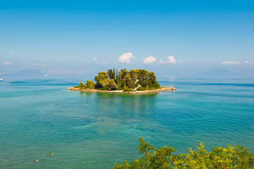 Pontikonisi island or Mouse island. Greece.