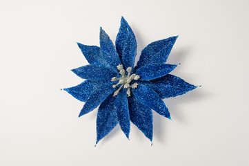 Christmas decorations of  blue on a white background