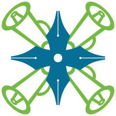 Pen Loudspeaker Symbol Green Blue