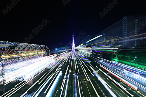 Papiers peints Attraction parc night view of the city lights of the resort
