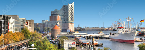 Foto Spatwand Poort Hamburger Hafenpanorama.
