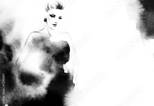 woman portrait  .abstract  watercolor .fashion background - 72915671