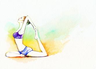 yoga position. watercolor illustration