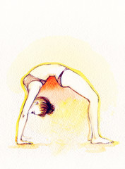 yoga position. watercolor illustration