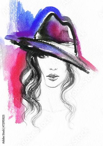 woman portrait  .abstract  watercolor .fashion background © Anna Ismagilova