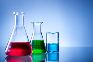 Laboratory equipment, bottles, flasks with color liquid
