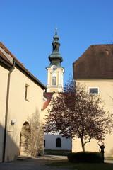 Kirchturm und Kloster von Stift Rein bei Graz