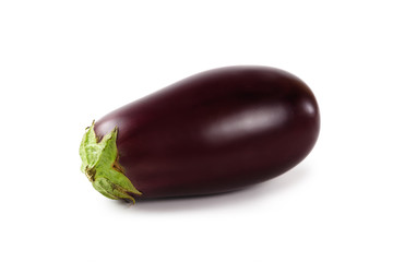Ripe eggplant on white
