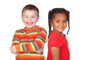 African little girl and caucasian blond kid