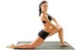 Sexy young yoga woman doing yogic exercise on isolated