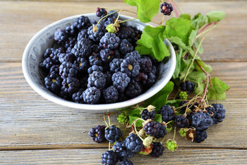 Black  blackberries in a bowl