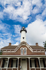 Red Brick House and White Brick Lighthouse
