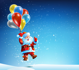Santa Claus flies on a balloon