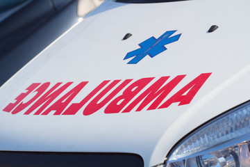 Ambulance sign of the car - detail.