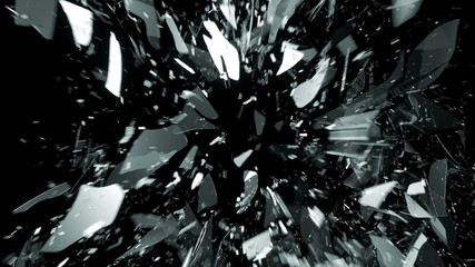 Breaking glass with motion blur in slow motion. Alpha