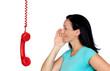 Brunette woman talking on phone