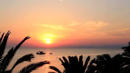 Beautiful sunset over Aegean sea. Time Lapse