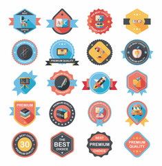 School badge banner design flat background set, eps10