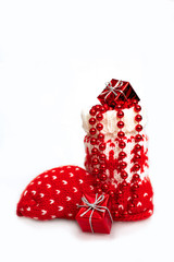 Christmas stocking stuffed with Christmas gifts isolated on whit