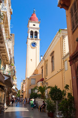 The Saint Spyridon Church bell tower in Kerkyra, Greece.