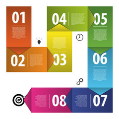 Colorful business vector paper progress steps template. Vector