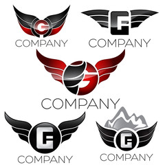 wings and letter symbol