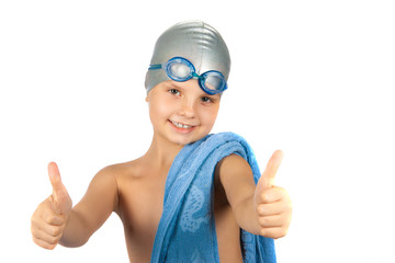 Portrait of a young girl in goggles and swimming cap. Isolated o