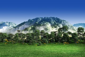 Green grass with trees, mountain and blue sky