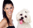 canvas print picture - Attractive brunette woman with her little dog