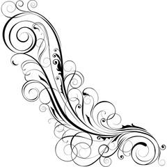 Black floral angle design