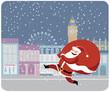 Obrazy na płótnie, fototapety, zdjęcia, fotoobrazy drukowane : Santa Claus delivering gifts in London