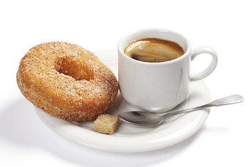 Plate with coffee and donut