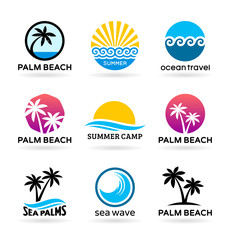 Set of badges of sea beaches with palm trees (1)