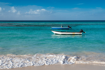 Boats in turquoise waters of Barbados