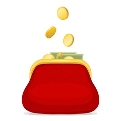 Red purse and gold coins