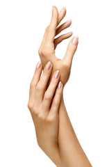 female hands with natural manicure on a white background