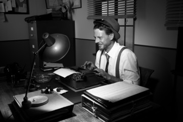 Smiling retro reporter at work