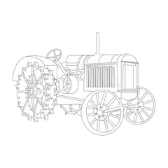 Vector outline of the old tractor