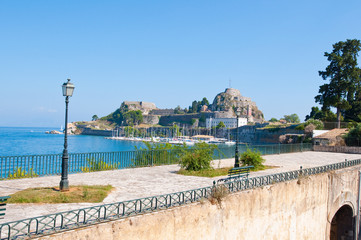 The Old Fortress of Corfu seen from the shore. Corfu, Greece.