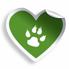Green heart sticker with animal paw