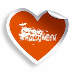 Orange heart sticker with Halloween grunge text and illustration