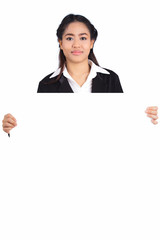 Woman holding blank billboard