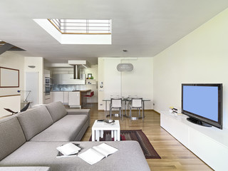 interior view of a modern living room in the attic room