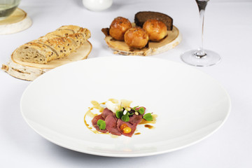 Appetizer on the table with bread