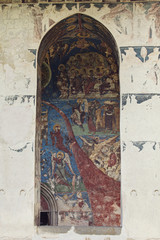 archway and painted wall in Moldovita Monastery, Bucovina, Roman
