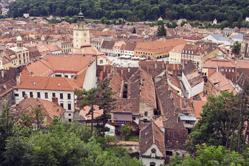 image of roof tops and Piata Sfatului (Council Square) in Brasov