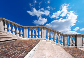 Marble Staircase on Blue Sky with Clouds